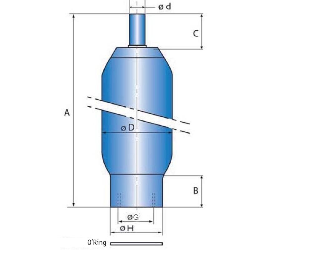 低压囊师蓄能器EBV系列40BAR,容积10至200Litres