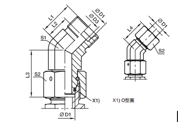 EV 45度组合接头、PARKER卡套接头、PARKER接头