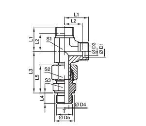 EVL-R  三通组合接头-英制螺纹金属密封PARKER接头、PARKER卡套接头