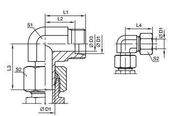 EVW 直角组合接头、parker球阀、PARKER卡套接头