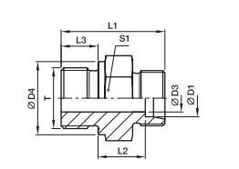 GE-M 端直通接头-公制螺纹金属面密封、PARKER接头、parker球阀