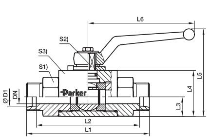 KH 三通紧凑型碳钢球阀、parker球阀、PARKER卡套接头