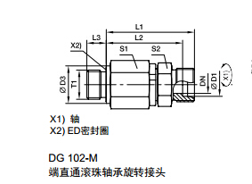 DG-M 公制外螺纹滚珠轴承旋转接头、parker球阀、PARKER接头