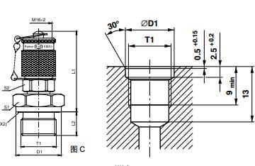 测压接头 EMA3 外螺纹测试点接头 - 连接螺纹M16x2、PARKER卡套接头、PARKER接头