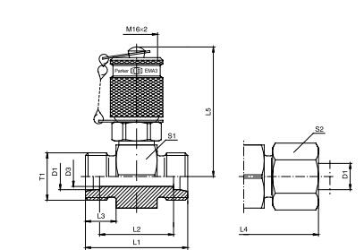 GMA3 管路测试点接头 - 连接螺纹M16x2、PARKER卡套接头、parker球阀