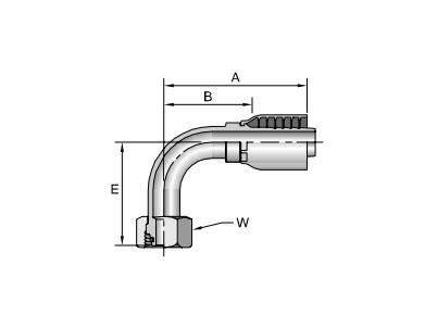 Parker胶管派克胶管接头43系列11C43公制24°锥内螺纹带O形圈 重系列 90°接头、PARKER卡套接头、PARKER接头